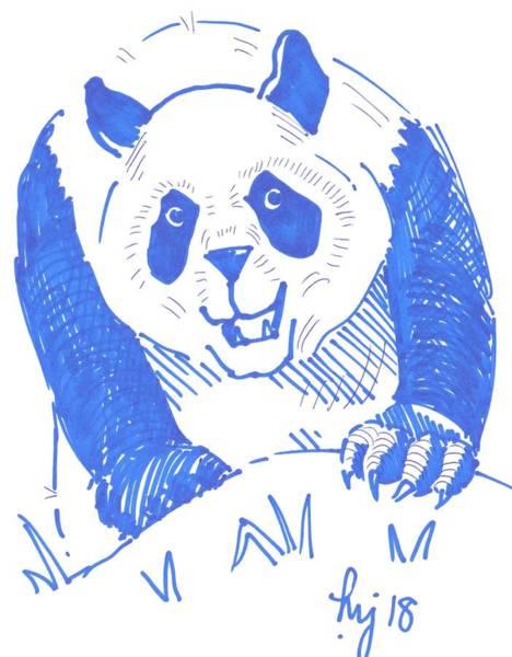 Drawing - Panda Cartoon by Mike Jory