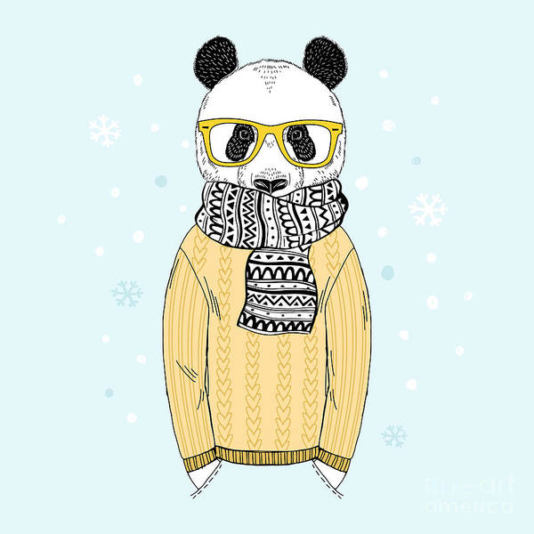 Panda Wall Art - Digital Art - Panda Dressed Up In Jacquard Pullover by Olga angelloz