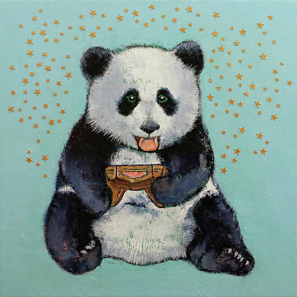 Wall Art - Painting - Panda Gamer by Michael Creese