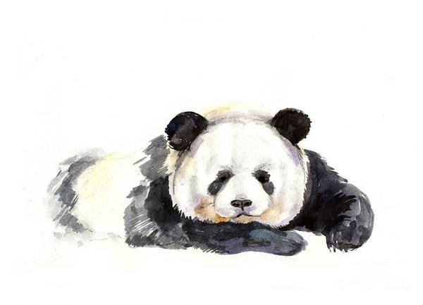Wildlife Digital Art - Panda Hand Painted Watercolor by Tatyana Komtsyan