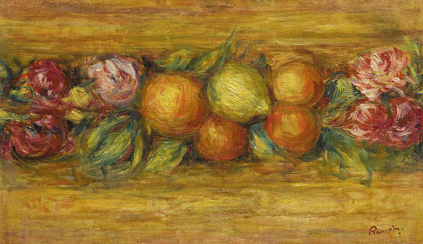 Painting - Panel Of Fruits And Flowers by Pierre-Auguste Renoir