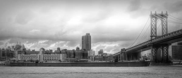 Wall Art - Photograph - Pano Nyc Brooklyn Bridge Black White Barge  by Chuck Kuhn
