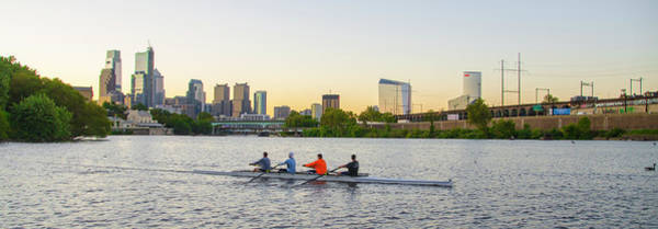Photograph - Panorama Cityscape - Rowing The Schuylkill River by Bill Cannon