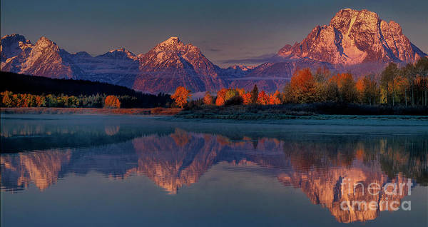Photograph - Panorama Dawn Autumn Tetons Oxbow Bend Grand Tetons National Park by Dave Welling