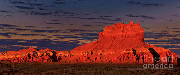 Photograph - Panorama Dawn Light On Wild Horse Butte Goblin Valley Utah by Dave Welling