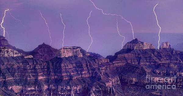 Photograph - Panorama Lightning North Rim Grand Canyon National Par by Dave Welling