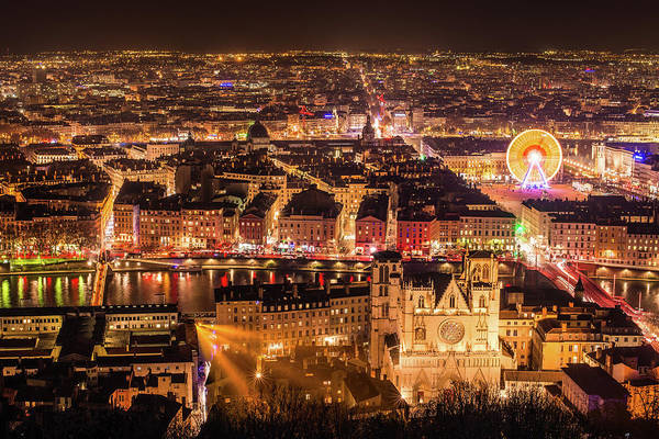 Rhone River Photograph - Panorama Lyon City By Night In by Yanis Ourabah