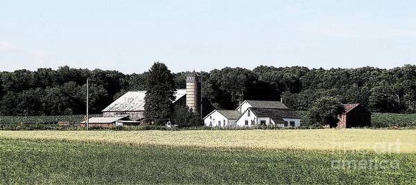 Photograph - Panorama Of Amish Country Farm Landscape  In Chautauqua New York Ink Sketch Effect by Rose Santuci-Sofranko