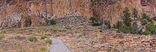Wall Art - Photograph - Panorama Of Ancient Tyuonyi Pueblo Dwellings At Bandelier National Monument - Los Alamos New Mexico by Silvio Ligutti