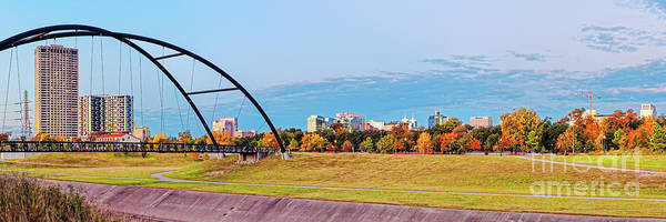 Wall Art - Photograph - Panorama Of Bill Coats Suspension Bridge, Texas Medical Center And Fall Foliage - Hermann Park Htx by Silvio Ligutti