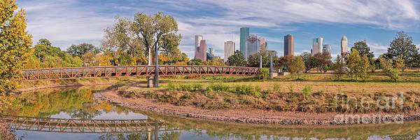 Photograph - Panorama Of Carruth Pedestrian Bridge - Buffalo Bayou - Downtown Houston Skyline In The Fall - Texas by Silvio Ligutti
