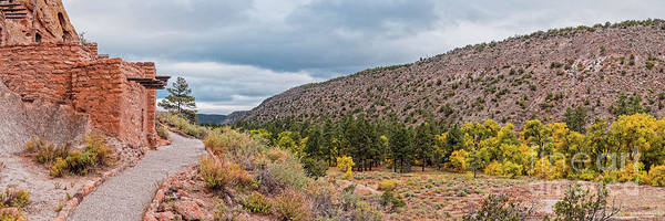 Wall Art - Photograph - Panorama Of Cliff Dwelling And Fall Cottonwoods In Frijoles Canyon - Bandelier National Monument  by Silvio Ligutti