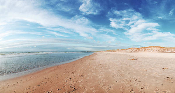 Waters Edge Photograph - Panorama Of Danish Beach With Blue Sky by Vithib