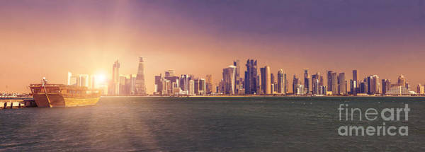 Photograph - Panorama Of Doha Bay by Benny Marty