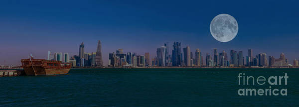 Photograph - Panorama Of Doha With Moon by Benny Marty
