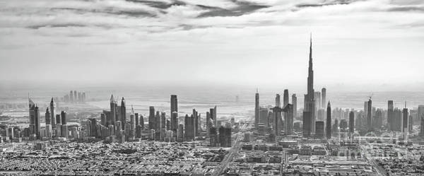 Wall Art - Photograph - Panorama Of Dubai, Black And White by Delphimages Photo Creations