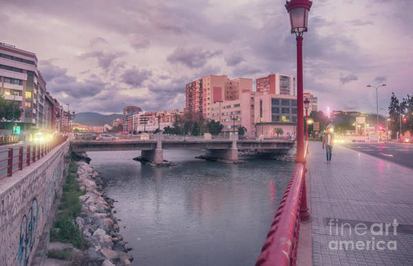 Photograph - panorama of evening street in Malaga by Ariadna De Raadt