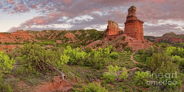 Photograph - Panorama Of Fiery Sunset Over Lighthouse Rock - Palo Duro Canyon State Park - Texas Panhandle by Silvio Ligutti
