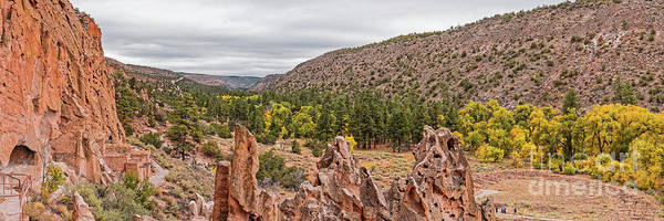 Wall Art - Photograph - Panorama Of Frijoles Canyon And Changing Cottonwoods - Bandelier National Monument New Mexico by Silvio Ligutti