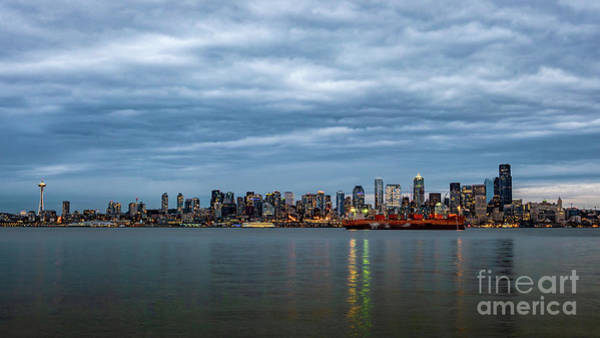 Photograph - Panorama Of Seattle Skyline At Night With Storm Clouds by PorqueNo Studios