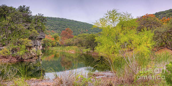 Wall Art - Photograph - Panorama Of The Pond At Can Creek - Lost Maples State Natural Area - Vanderpool Texas Hill Country by Silvio Ligutti