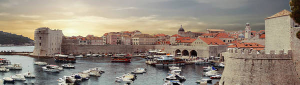 Photograph - Panorama  Of The Port Of The Old City Of  Dubrovnik by Steve Estvanik