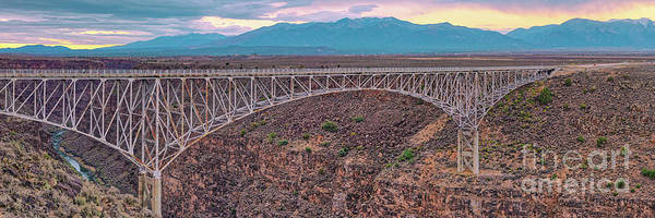 Land Of Enchantment Photograph - Panorama Of The Rio Grande Del Norte Gorge Bridge And Sangre De Cristo Mountains - Taos New Mexico by Silvio Ligutti