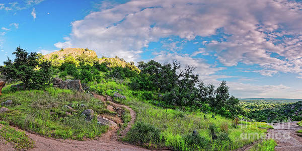 Wall Art - Photograph - Panorama Of Turkey Peak And Hiking Trails At Enchanted Rock - Gillespie County Texas Hill Country by Silvio Ligutti