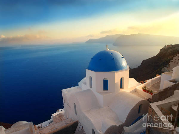 Wall Art - Photograph - Panorama Over A Church On Santorini by Ollyy