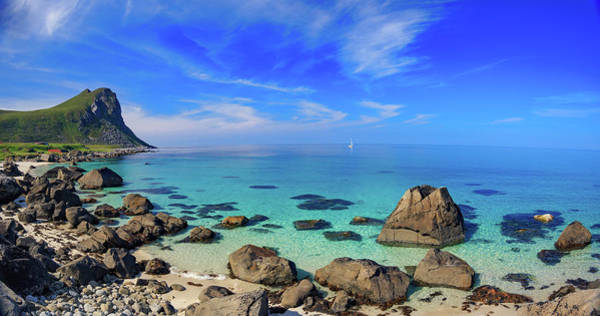 Wall Art - Photograph - Panorama Sailing The Turquoise Waters Of Myrland Beach, Lofoten, by Bridget Calip