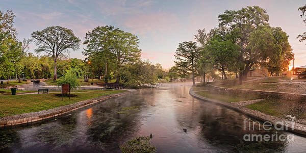 Wall Art - Photograph - Panorama - Sunrise Impending - Landa Park Comal Springs New Braunfels - Texas Hill Country by Silvio Ligutti