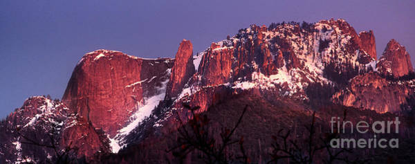 Photograph - Panorama Sunset Lights Up Castle Rock Sequoia National Park California by Dave Welling