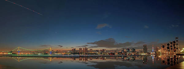 Wall Art - Photograph - Panorama Tokyo Bay Reflection Night View by Photography By Zhangxun