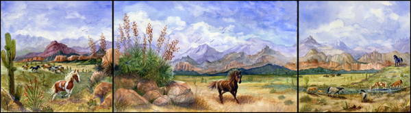 Bronze Painting - Panorama Triptych Don't Fence Me In  by Marilyn Smith