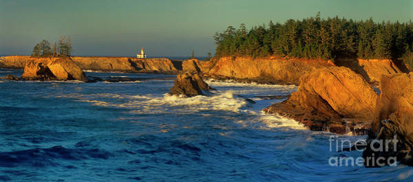 Photograph - Panoramic Cape Arago Lighthouose Central Oregon Coast by Dave Welling