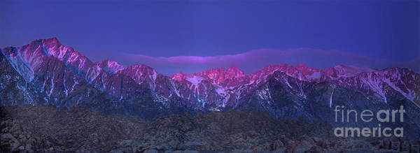 Photograph - Panoramic Dawn Alpenglow Mount Whitney Eastern Sierras by Dave Welling