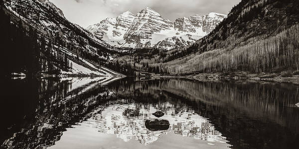 Photograph - Panoramic Mountain Landscape Of The Maroon Bells - Sepia Edition by Gregory Ballos