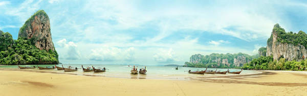 Wall Art - Photograph - Panoramic Railay Beach With Longtail by Miangusapa