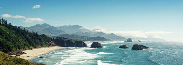 Horizontal Landscape Photograph - Panoramic Shot Of Cannon Beach, Oregon by Kativ