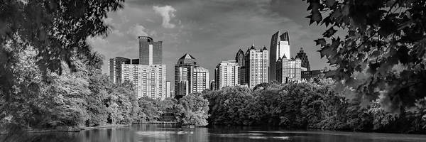 Photograph - Panoramic Skyline Of Atlanta Georgia In Black And White by Gregory Ballos