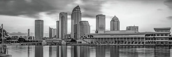 Wall Art - Photograph - Panoramic Tampa Bay Florida Skyline In Monochrome by Gregory Ballos
