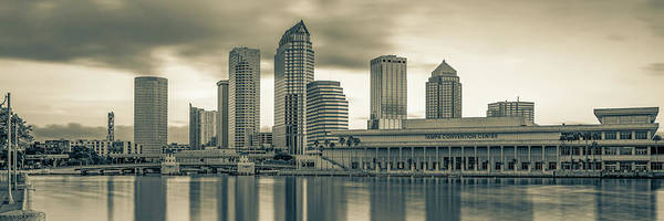 Wall Art - Photograph - Panoramic Tampa Bay Florida Skyline In Sepia by Gregory Ballos