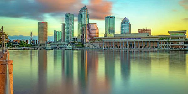 Wall Art - Photograph - Panoramic Tampa Florida Skyline Reflections On The Bay by Gregory Ballos