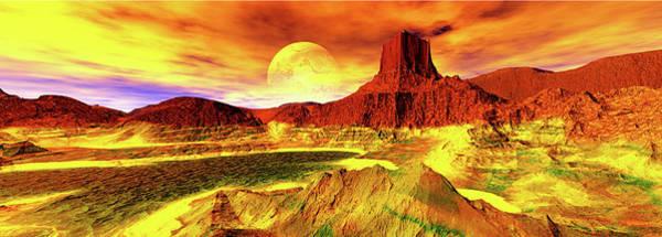 Red Planet Digital Art - Panoramic View. Endless. Digitally by Raj Kamal