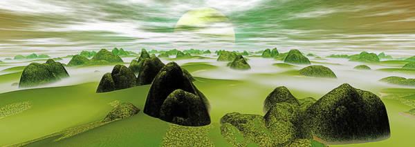 Wall Art - Digital Art - Panoramic View. Flowing Mist. Digitally by Raj Kamal