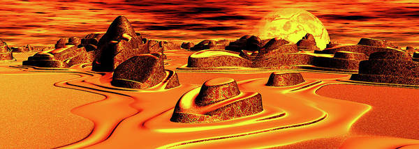 Liquid Digital Art - Panoramic View. Liquid Gold. Digitally by Raj Kamal