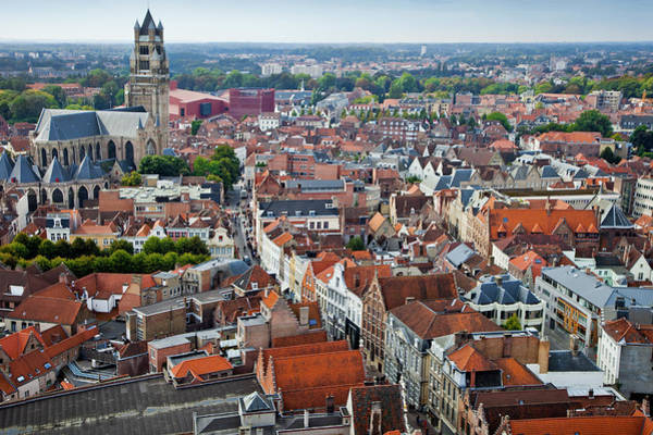 Belgium Photograph - Panoramic View Of Bruges by Gonzalo Azumendi