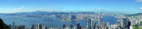 Central Business District Wall Art - Photograph - Panoramic View Of Hong Kong At Day by Samxmeg