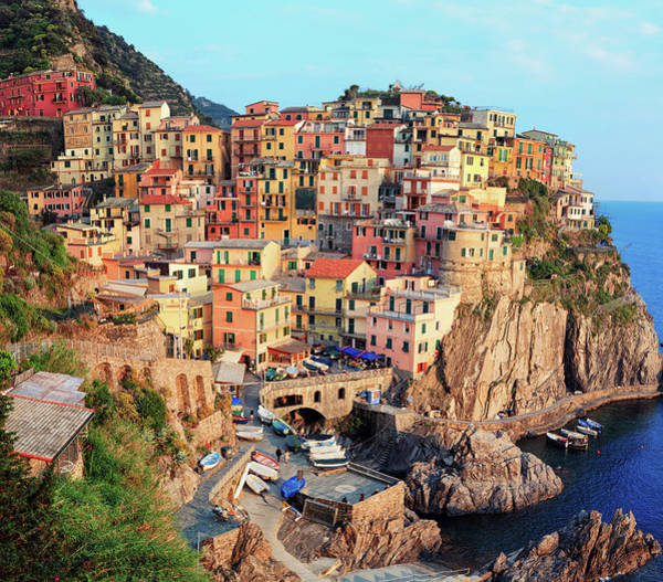 Town Square Wall Art - Photograph - Panoramic View Of Manarola In Cinque by Borchee