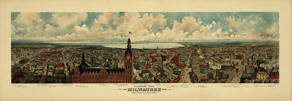 Wall Art - Painting - Panoramic View Of Milwaukee, Wis. Taken From City Hall Tower, 1898 by The Gugler Lithographic